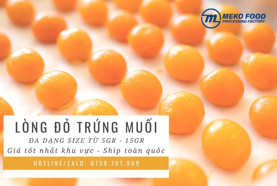 trungmuoimeko.vn - Lòng đỏ trứng muối MEKO đa dạng kích cỡ từ 5 đến 15 gram